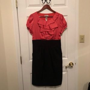 Stunning coral and black dress!